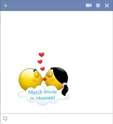 Two kissing smileys are match made in heaven