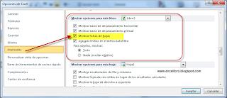 Mostrar u Ocultar fichas de hojas en Excel.