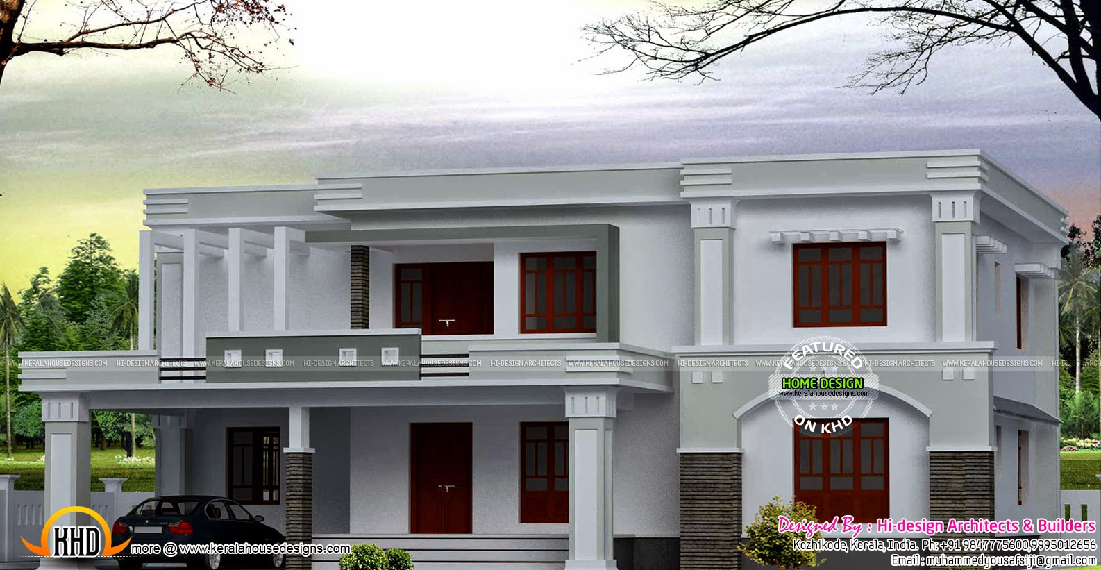 Total flat roof house kerala home design and floor plans for Flat roof home plans