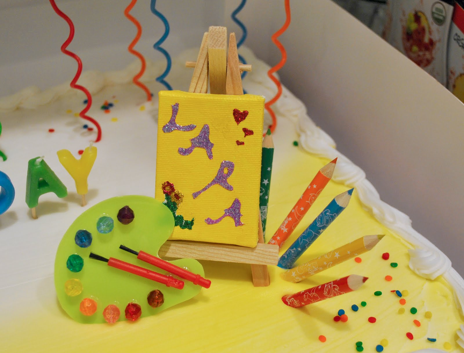 Art Easel Cake Topper : forty-two roads: Happy, Happy Birthday!