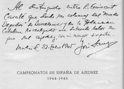Dedicatoria de José Sanz a Ricardo Guinart Cavallé en el libro Campeonatos de España de Ajedrez 1944-1945 de José Sanz
