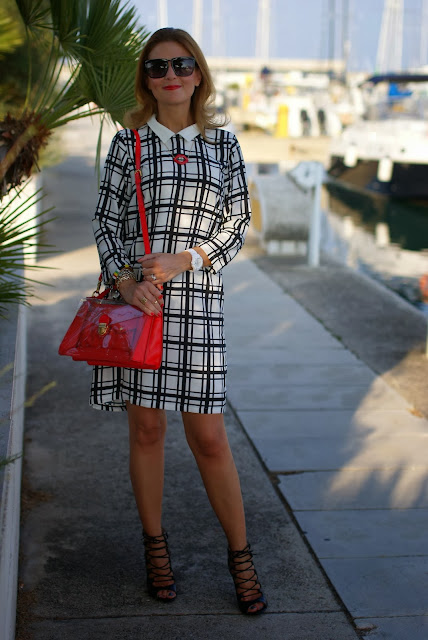 frontrowshop check dress, Zara laced up heels, marc by marc jacobs clearly bag, Fashion and Cookies, fashion blogger