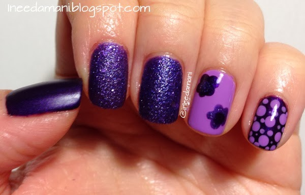 purple polka dot flower nails