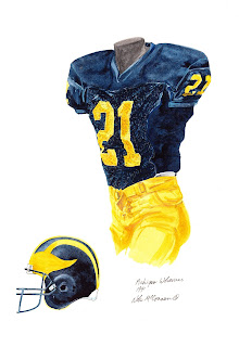 1991 University of Michigan Wolverines football uniform original art for sale