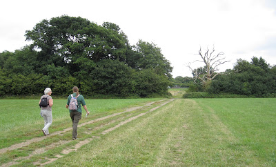 Crossing a field in the direction of Barnet Wood.  Zig Zag Walk from Norman Park to Oakfield Road, Keston.  Set up by Ewa Prokop, Led by Jenny Price.  12 August 2011.