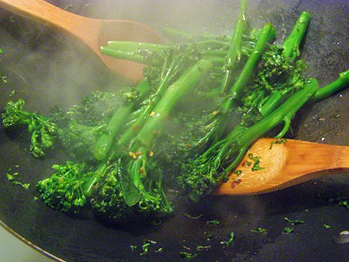 Stir frying with a lot of steam