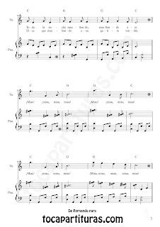 3 El Gato del Gato en la Terraza Partitura para Piano y Voz de Fernando Daniel Bruno,. Partitura y Canción del Folklore Argentino