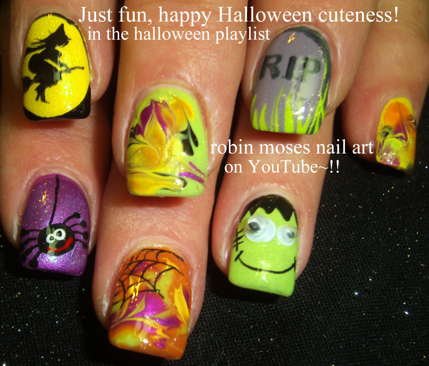 Robin Moses Nail Art February 2015: Robin Moses Nail Art: Cute Halloween Skeleton Nails