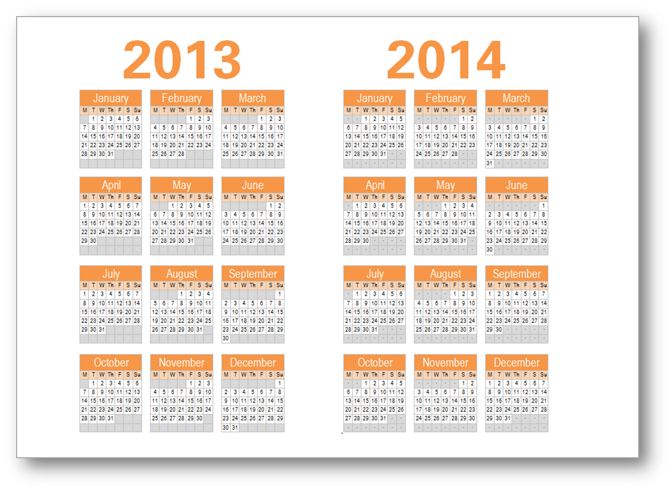 Year Calendar 2014 Printable One Page