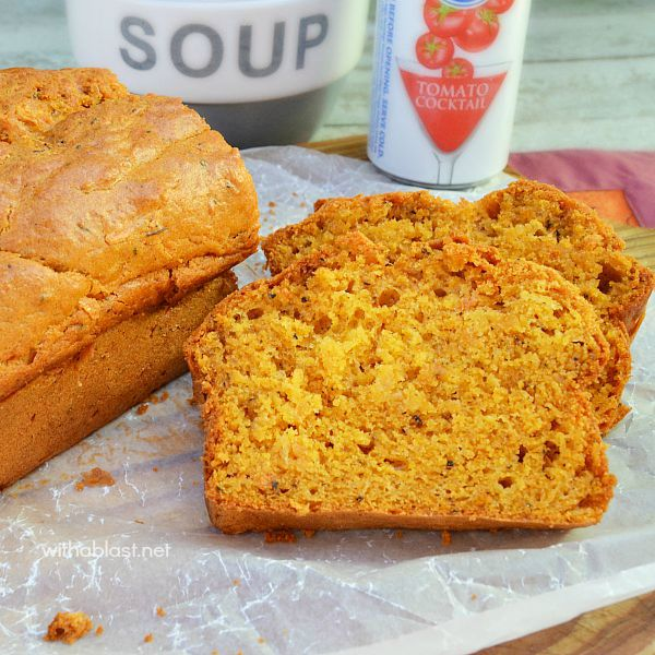 Perfect Tomato Basil Bread to serve with soup ! Quick, easy (no kneading or yeast) and delicious even on it's own - served warm with butter and a slice of cheese is to die for delicious !