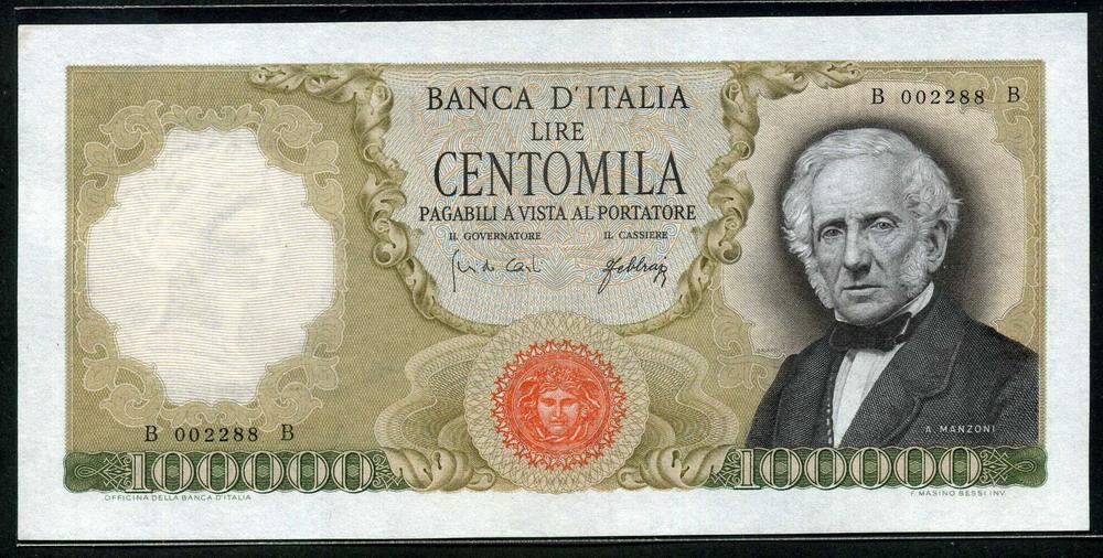 Italian Currency 100000 Lire banknote 1967 Manzoni|World ... Italian Money