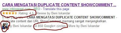 menampilkan jumlah lingkaran circle di hasil pencarian google