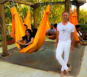 Antigravity Fitness Creator Christopher Harrison and some yogis