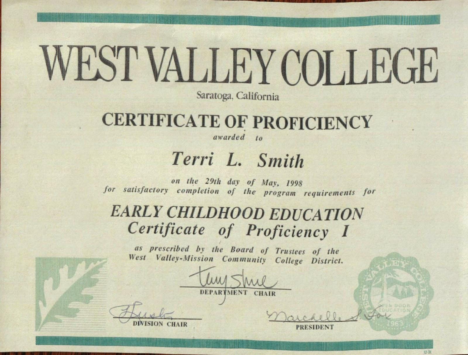 E portfolio terri smith certificates 1betcityfo Image collections