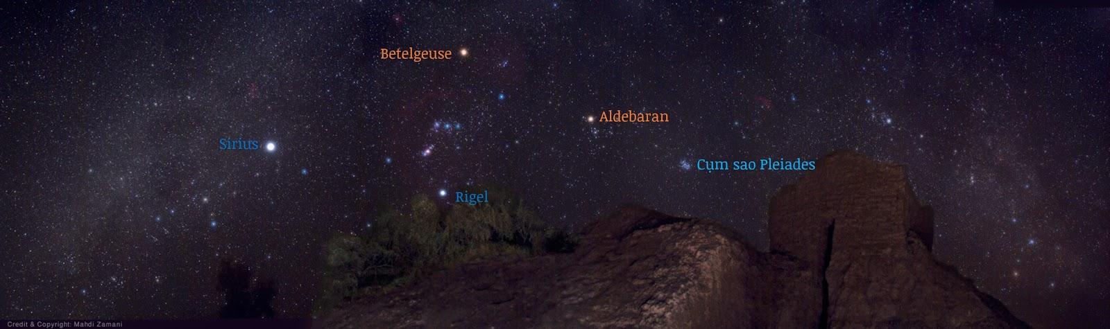 Panorama những chòm sao mùa đông vào tháng 12/2009 ở Ba Tư (Y Lãng). Tác giả : Mahdi Zamani.