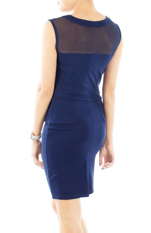 Midnight Runway Peplum Dress with Mesh Detailing