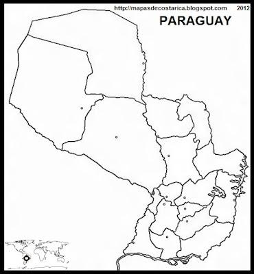 mapa mudo de la organización política de PARAGUAY
