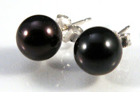 black pearl and sterling silver post earrings