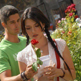 boy giving flower to her angry girlfriend