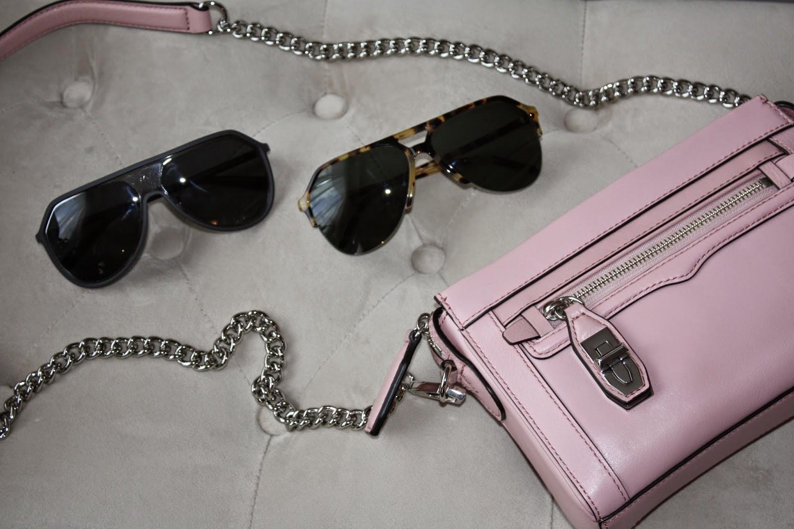 Rebecca Minkoff Crosby Crossbody and Dolce & Gabbana Sunglasses, Aviators, Pink, Tortoise
