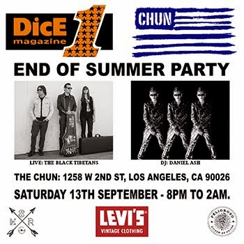 DicE/Chun Party. Saturday 13th September - 8pm til 2am. 1258 W 2nd St, LA, CA 90026