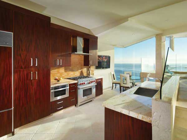 Photo of modern kitchen in oceanfront villa