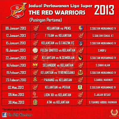 VISIBLE VOICE: THE RED WORRIORS : JADUAL PERLAWANAN LIGA SUPER 2013