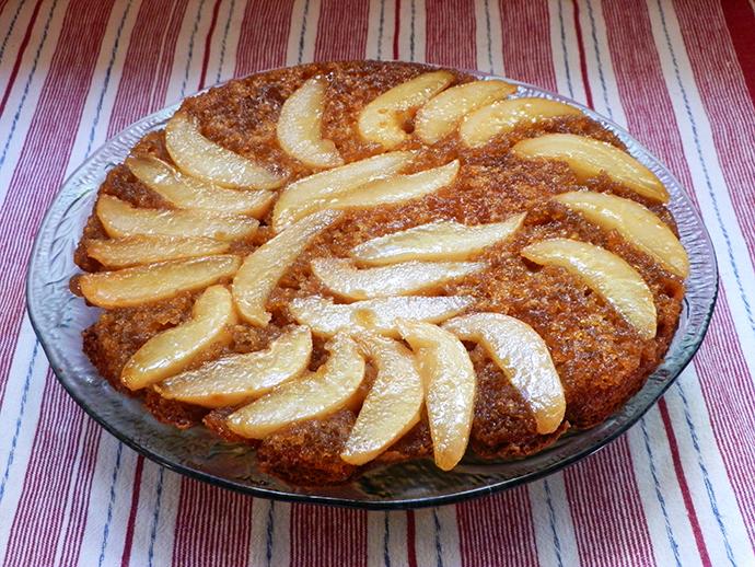 Golden pairs in caramel glaze cake recipe