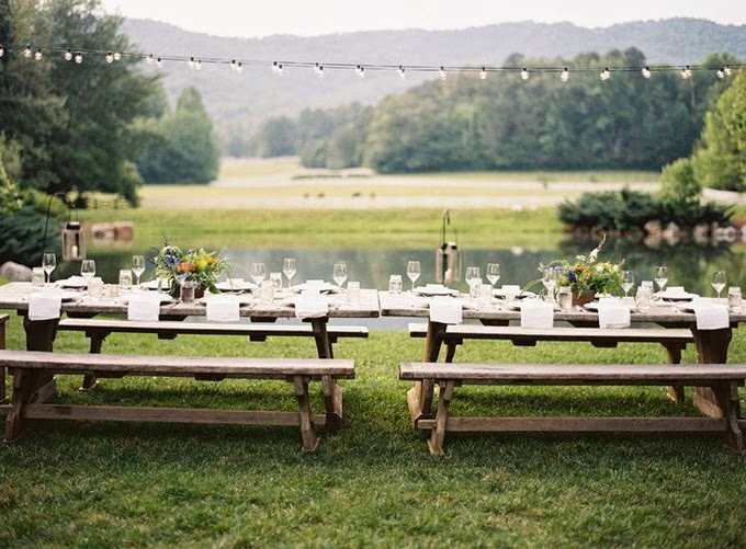 10 Country Chic and Rustic Wedding Tablescapes - Picnic Tables or Bench Seating