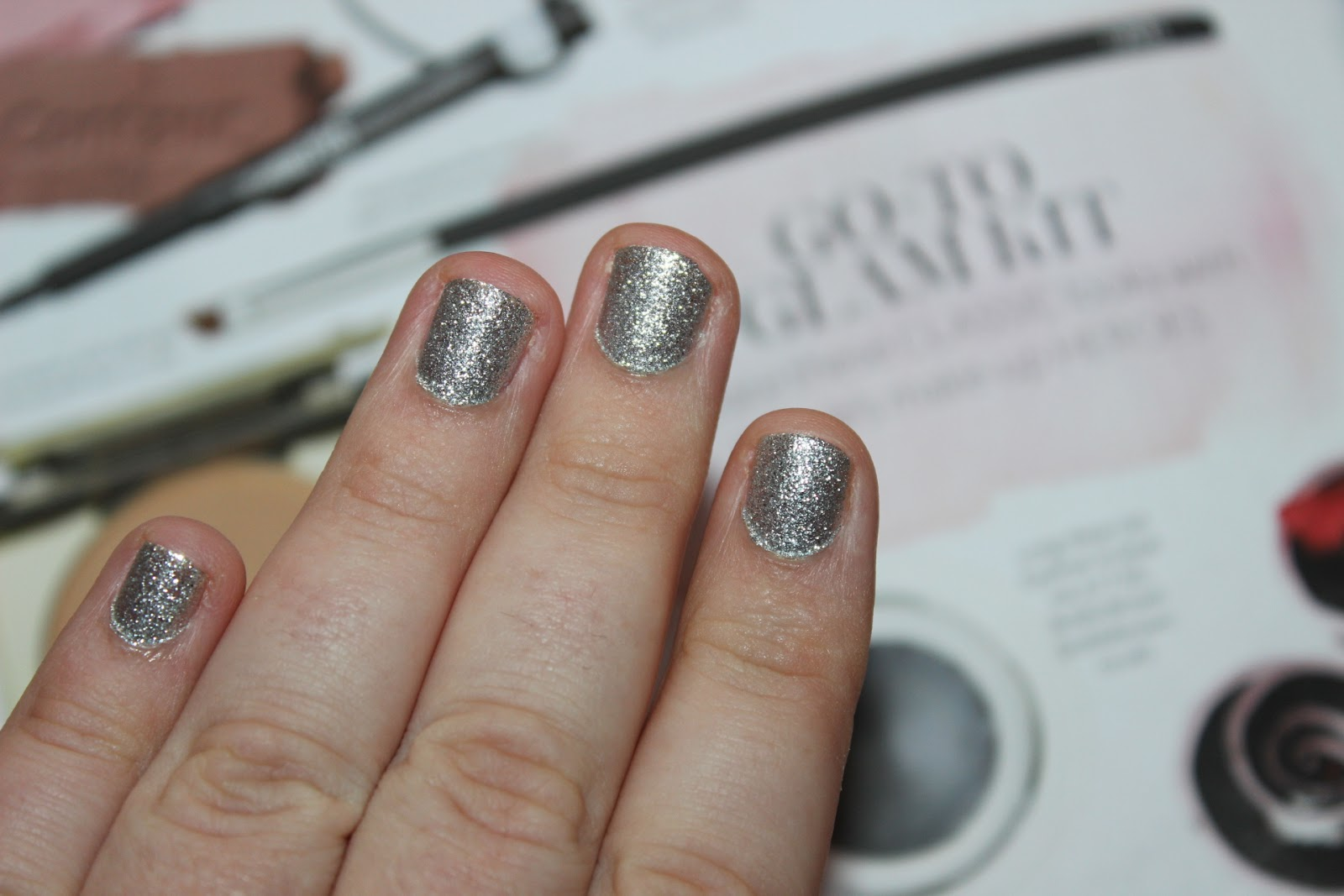 a silver full on glitter polish