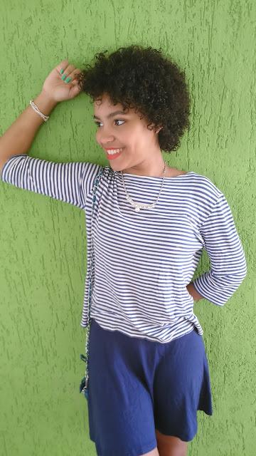 Look Saia Azul e Listras