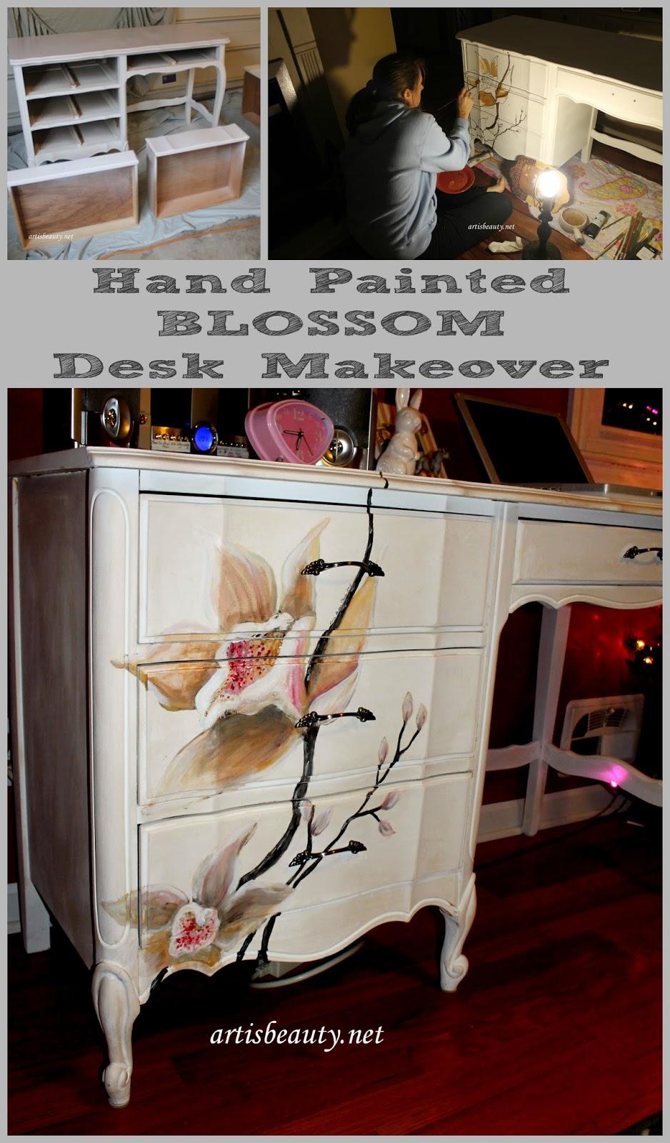 Art Is Beauty Girls New Hand Painted Blossom Desk