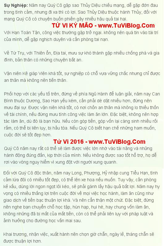 Tu Vi 2016 Ky Mao 1999 Nu Mang