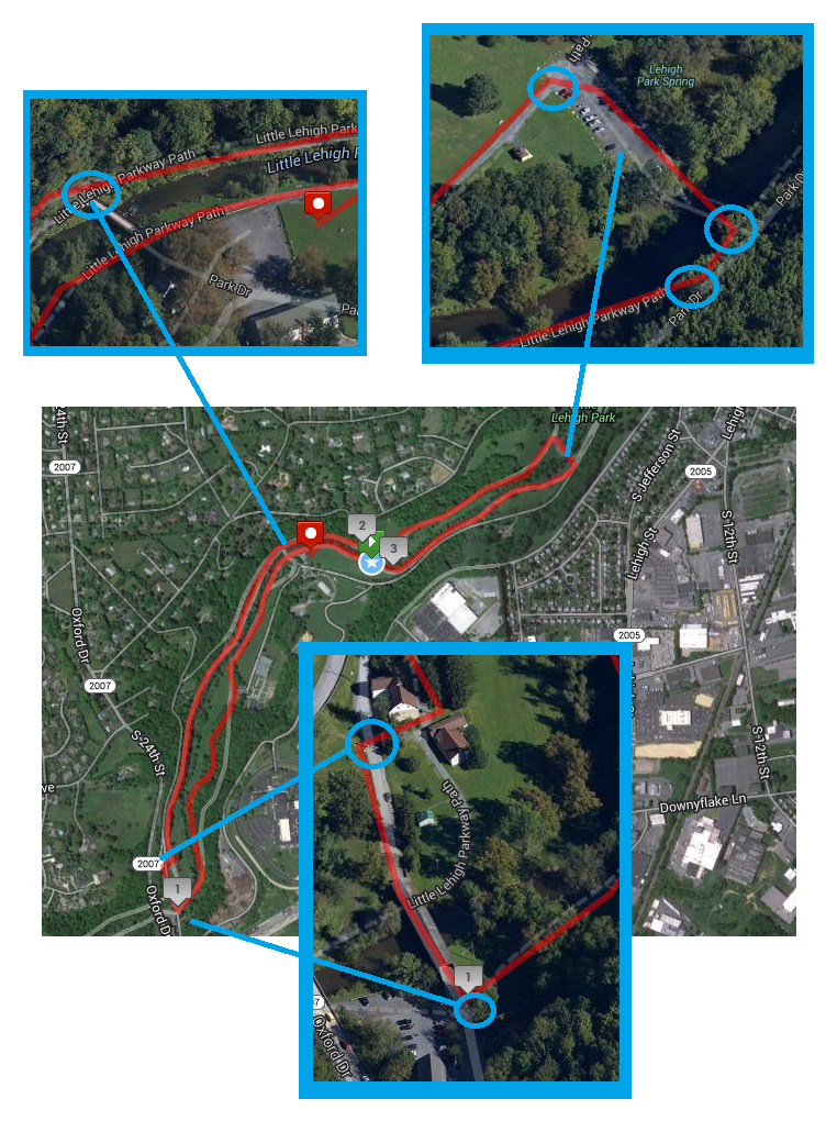 Lehigh Parkway 5K Course map