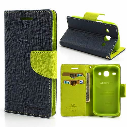 Mercury Goospery Fancy Diary Leather Case for Samsung Galaxy Core I8260 I8262 - Dark Blue