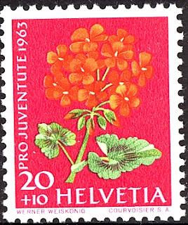 1963 Helvetia, Pelargonien Briefmarke