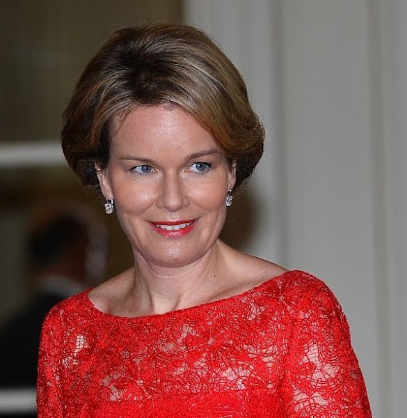 Queen Mathilde of Belgium held a official lunch at the Royal Castle in honor of Turkey's President Recep Tayyip Erdogan and his wife Emine Erdogan