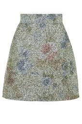 Topshop Floral Boucle A-Line Skirt