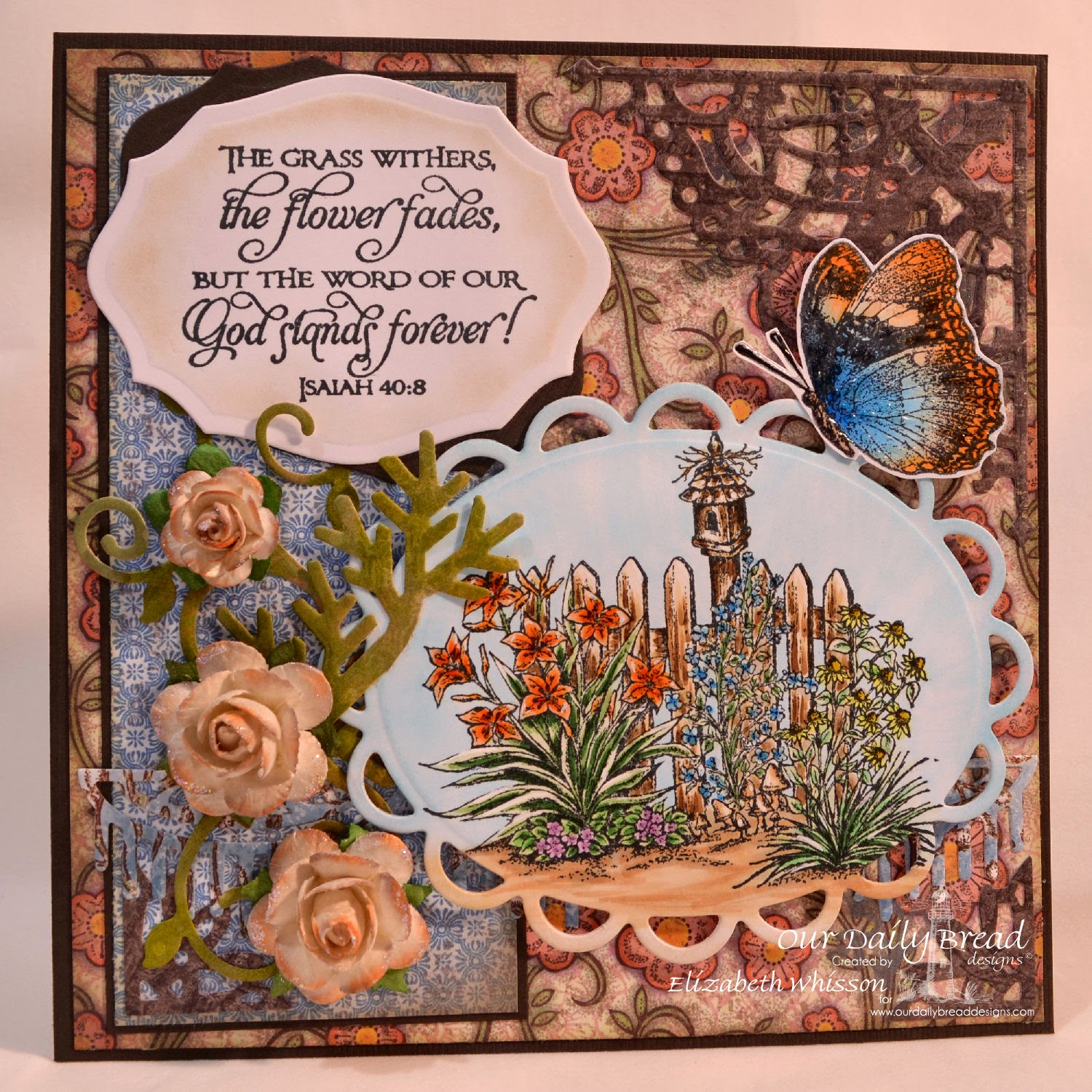 Elizabeth Whisson, Our Daily Bread Designs, Missing You, Don't Worry, Scripture Series 1, ODBD Beautiful Borders Dies, ODBD Fancy Foliage Dies, ODBD Elegant Ovals Dies, ODBD Decorative Corners Dies, ODBD Ornate Borders and Flowers Dies, ODBD Blooming Garden Paper Collection