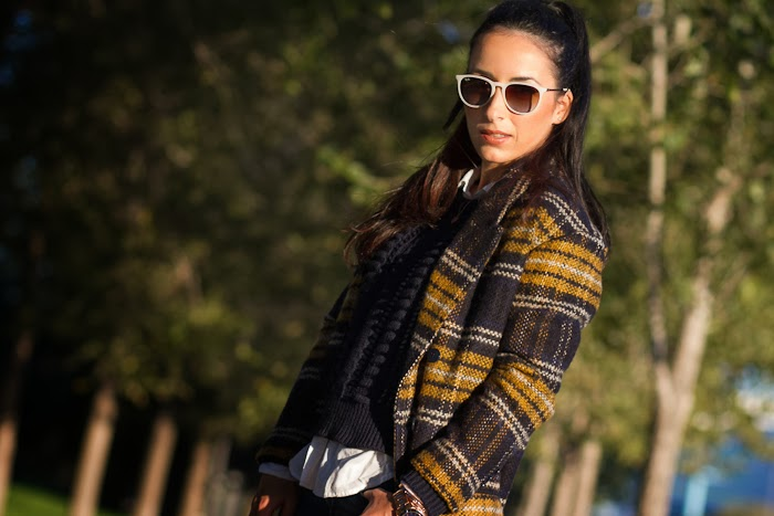 NAVY and MUSTARD CHECKED COAT