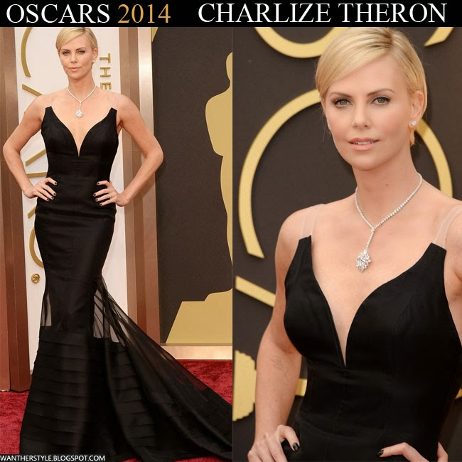 Charlize Theron in black Christian Dior gown Want Her Style Red Carpet 2014 Oscar