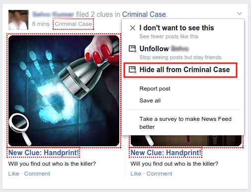 hiding game posts on newsfeed