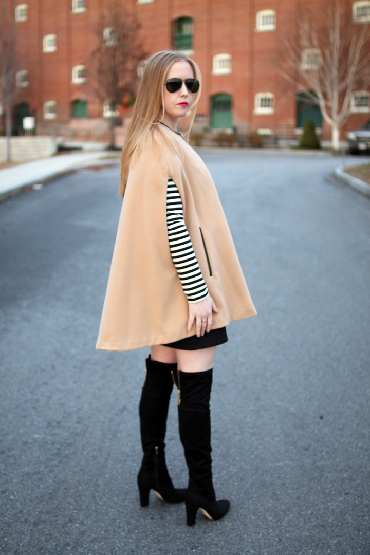 nude cape, black dress, stripes, boston blogger style, style blogger, over the knee boots, layers, clare v. foldver leopard clutch,