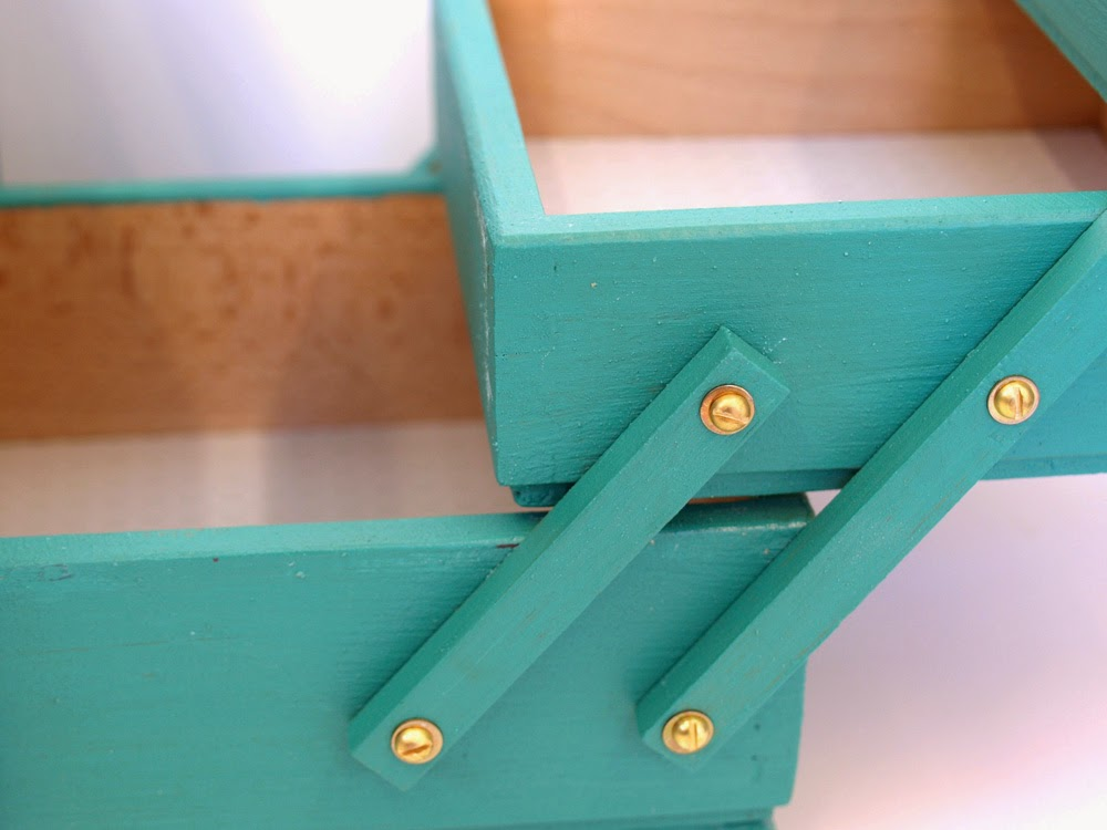 Green Chalk Painted Sewing box close up