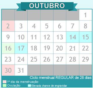Calendário do período fértil em ciclo de 28 dias.
