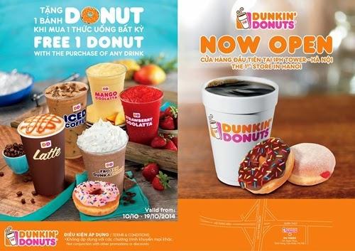 """Ưu đãi """"Mua 1 tặng 1"""" tại Dunkin' Donuts Xuân Thủy, Hà Nội - 1"""