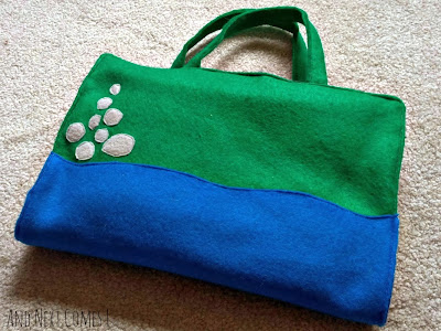 Homemade felt castle play tote when folded up from And Next Comes L
