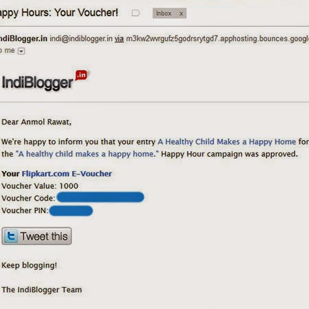 IndiBlogger Happy Hours Voucher: Day 96 of 100 Happy Days