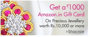 Get Rs 1000 amazon gift on purchasing jewellery worth Rs 10000