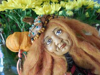 Pumpkin Queen Folk Art Doll Wall Hanger by Jeanne Fry